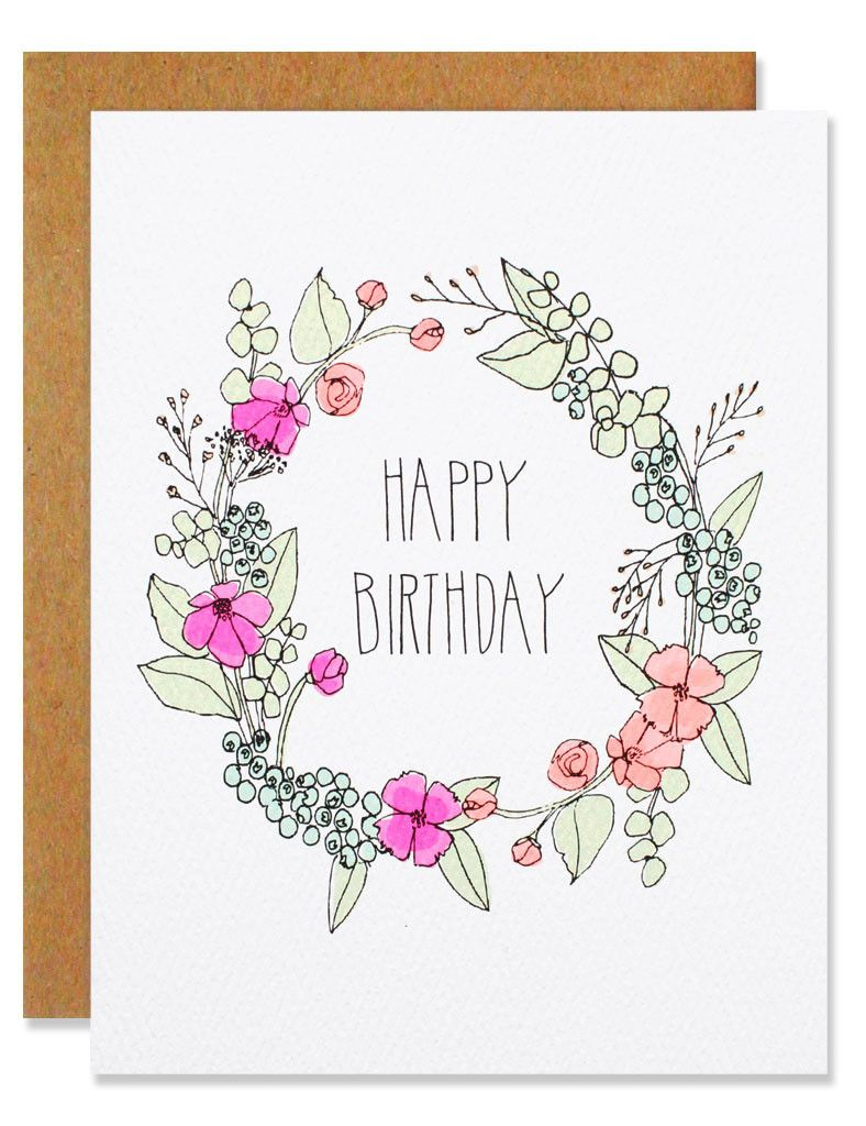 Happy Birthday Wreath Flower Birthday Cards Happy Birthday