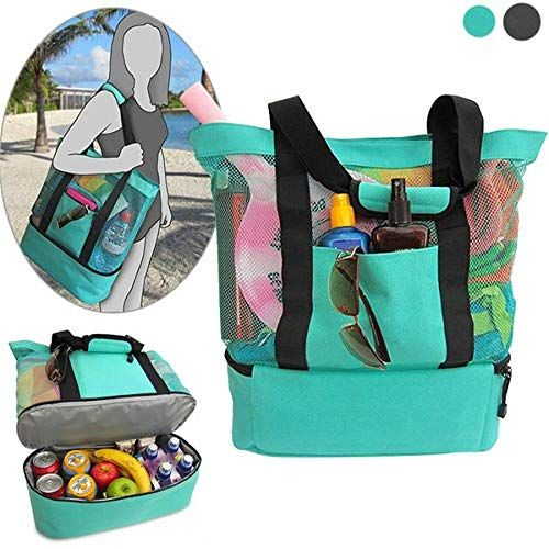 Gaodear Mesh Tote Bag 2 In 1 Beach Bag with Zipper Top and Insulated Picnic Cooler Bottom (Green) #zippertop