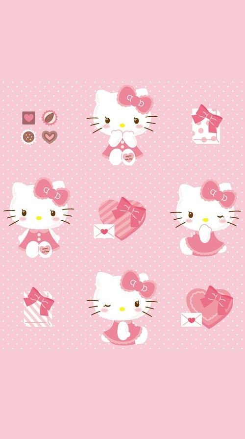 Wallpaper Cat Cartoon Pink Gambarku