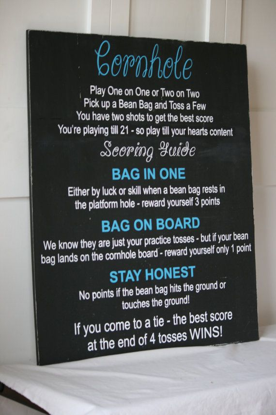 Cornhole Game Rules Custom Wood Sign By Expressiveinvites