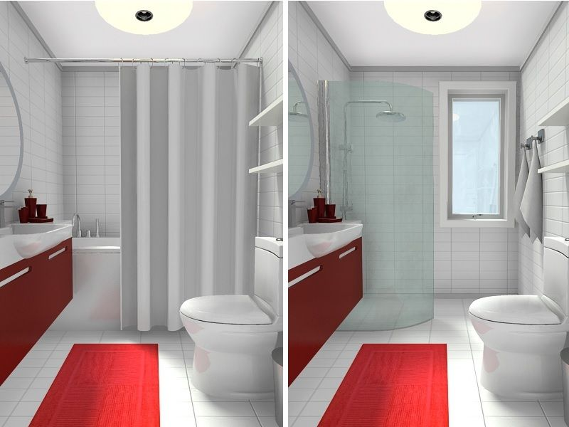 Small Bathroom Remodel Corner Shower corner showersmall bathroom with tub vs shower before & after