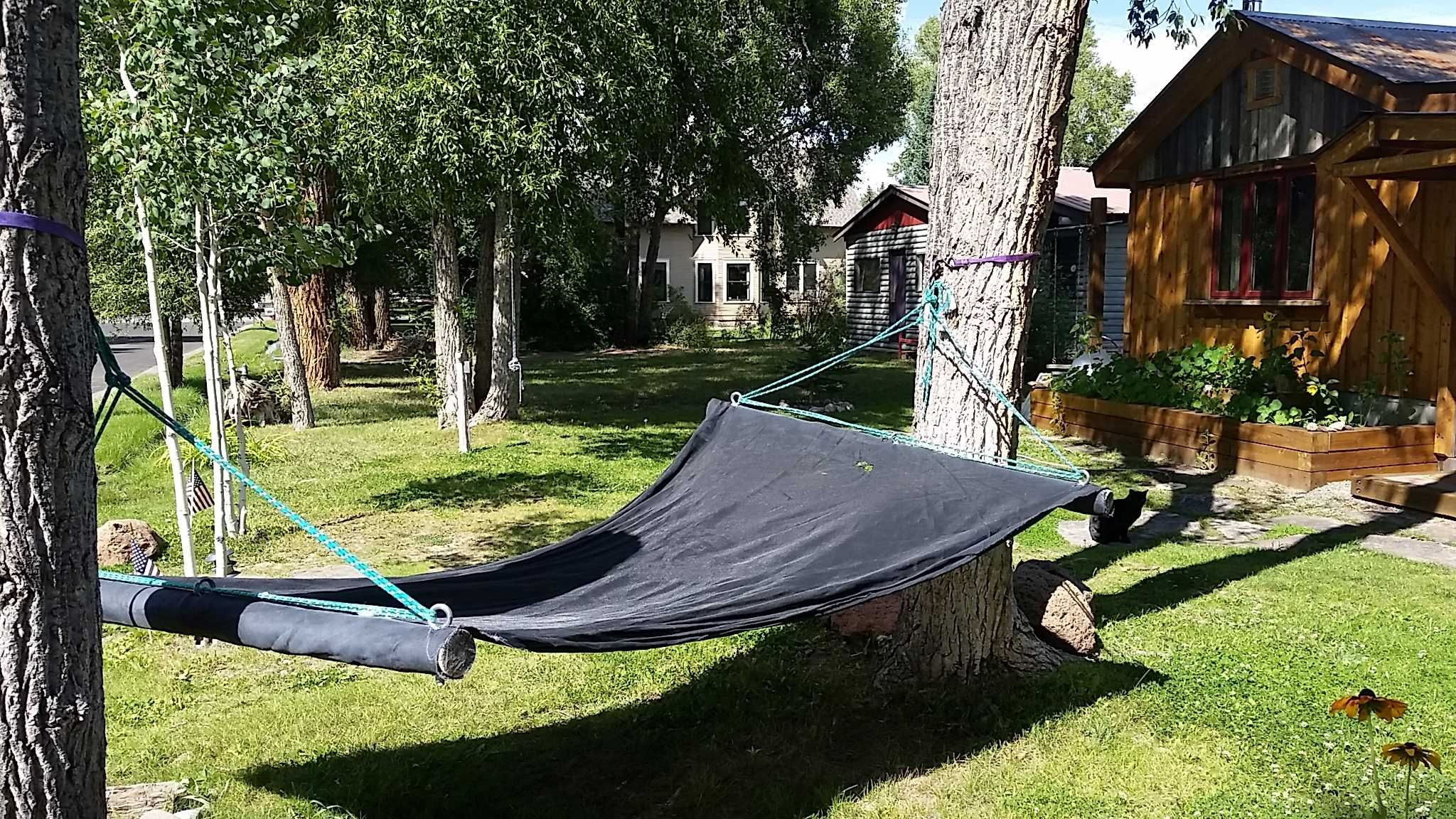 turn your old trampoline mat into a hammock if you u0027re kids are