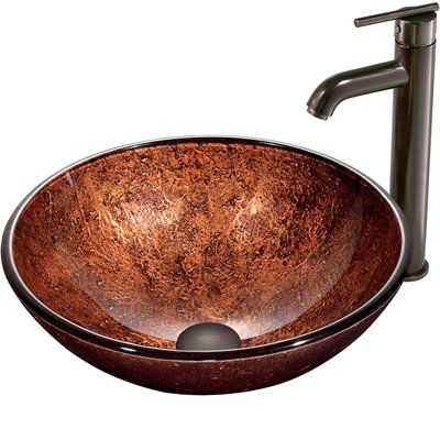 Pazo Glass Sink Sets Mahogany Moon Vessel Sink in Copper with Faucet ...