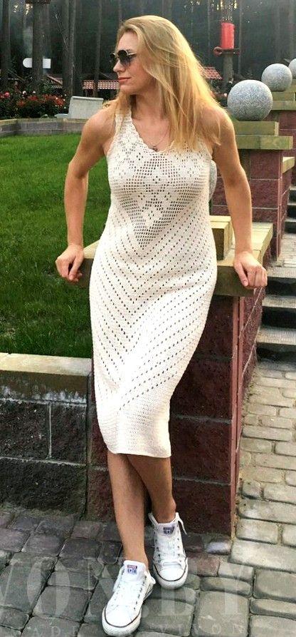 filet crochet dress by vivon from Osinka