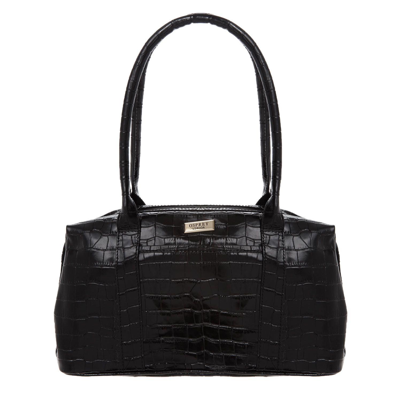 OSPREY LONDON Black Leather Leather, Leather shoulder