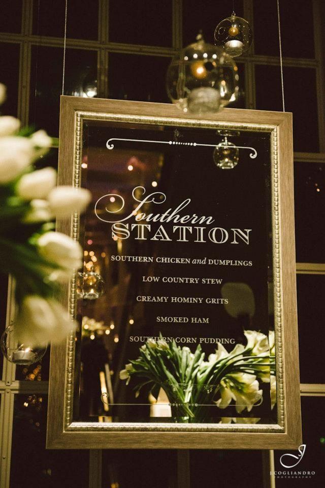 Etched mirror menu signage for dinner station...very elegant / www.keelythorne.com / J. Cogliandro Photography