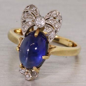Sapphire Cabachon with diamonds
