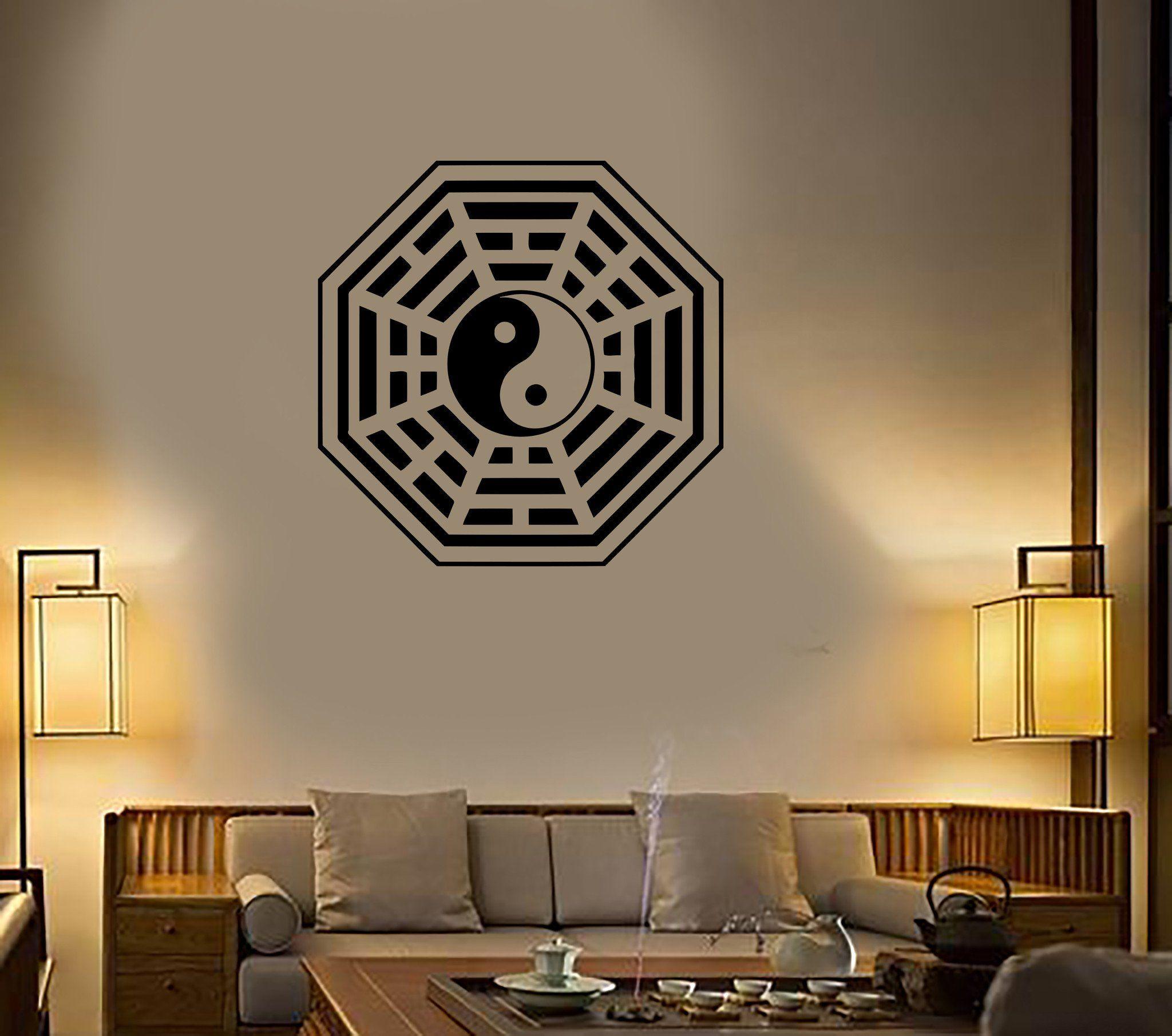 Wall decal buddha yin yang oriental relaxation meditation om decor