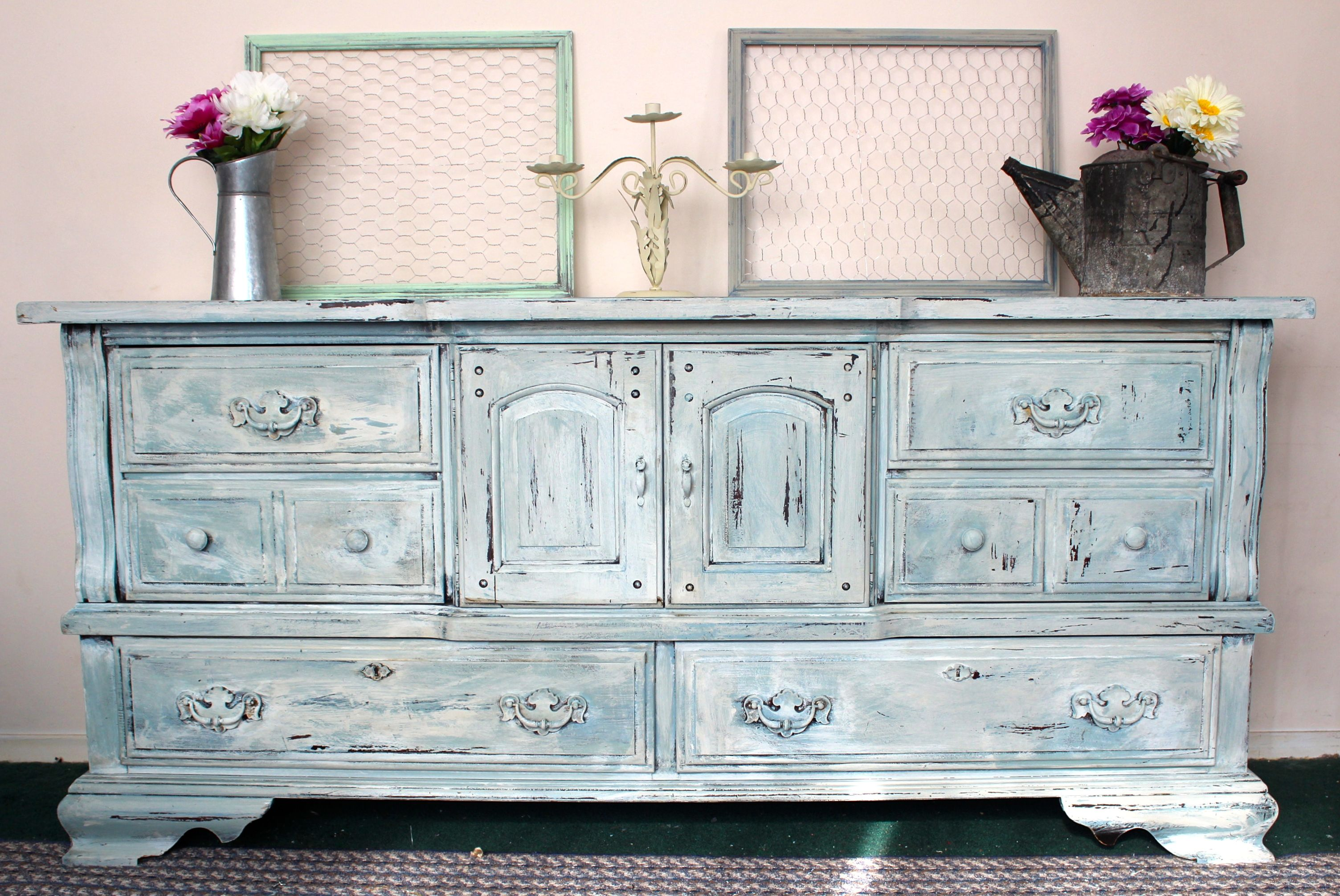 Light blue distressed dresser checkout our facebook page https www facebook