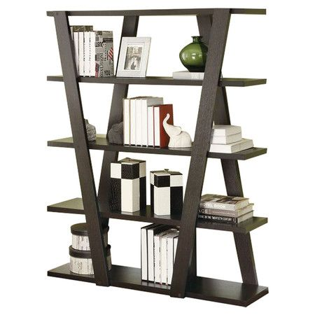 Finished In Rich Cappuccino This Artful Bookcase Provides Chic