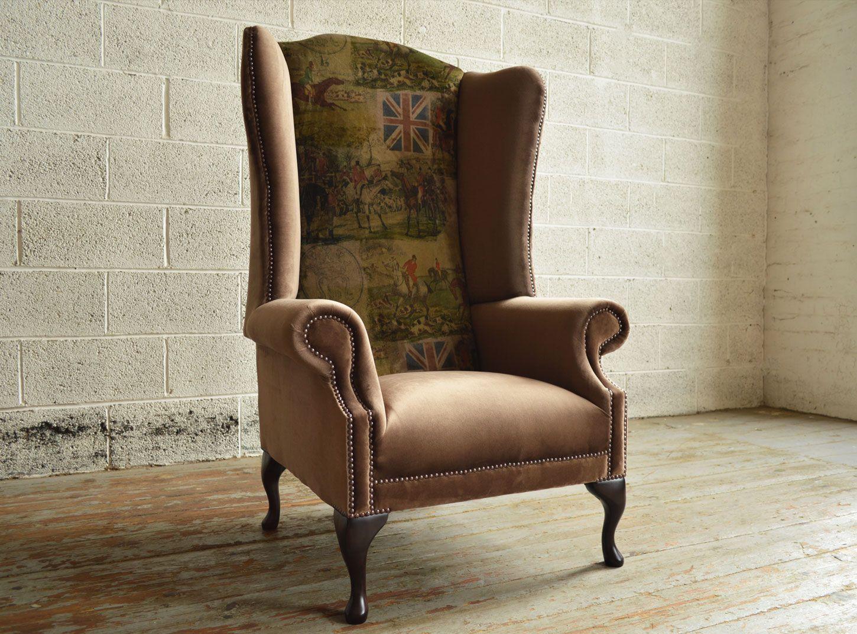 Attractive Bespoke British Fox Hunting Printed Velvet High Back Chesterfield Wing Chair.  Brown Velvet | Abode