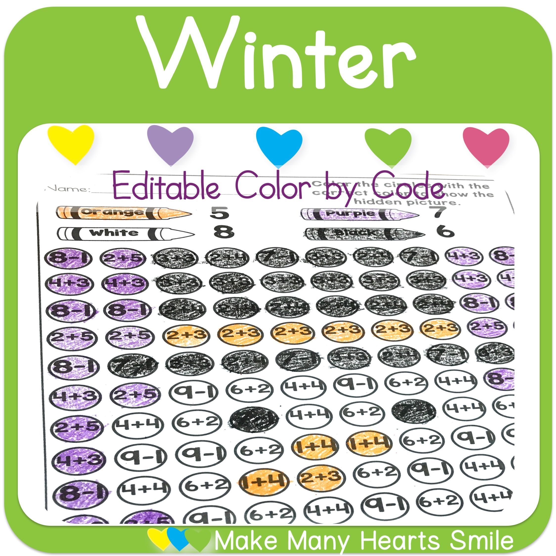 Editable Color By Code Worksheets Mhs5