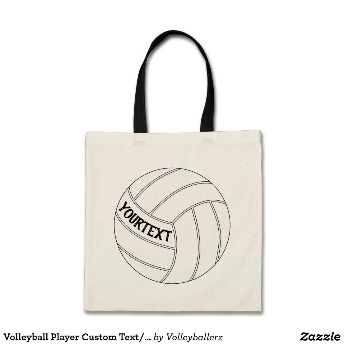 Volleyball Player Custom Text Team Name Tote Bag Zazzle Com Volleyball Bag Tote Bag Bags