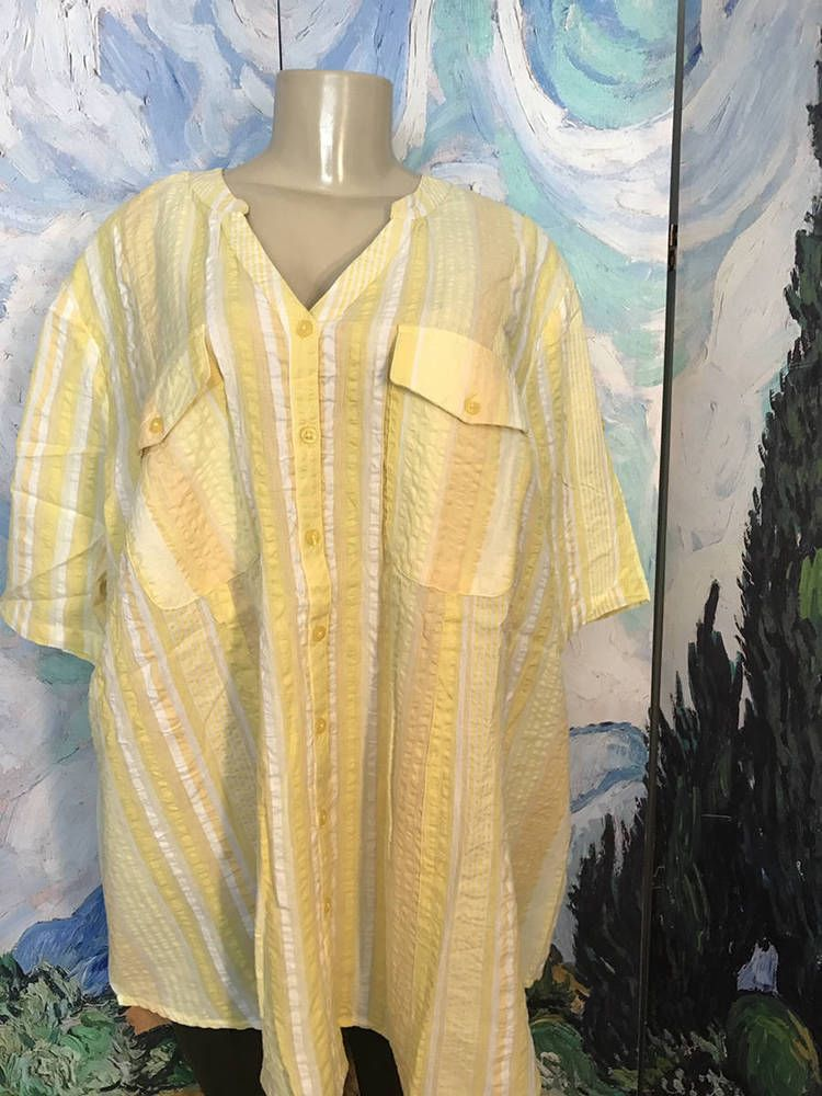 ROAMANS PLUS 24W NEW YELLOW STRIPED BUTTON TEXTURED SHORT TAB SLEEVE TUNIC TOP #Roamans #ButtonDownShirt #Casual