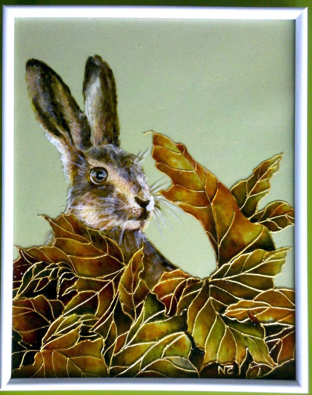 tableau peinture sur verre ce matin un lapin a tue un chasseur vitraux par mamycole. Black Bedroom Furniture Sets. Home Design Ideas