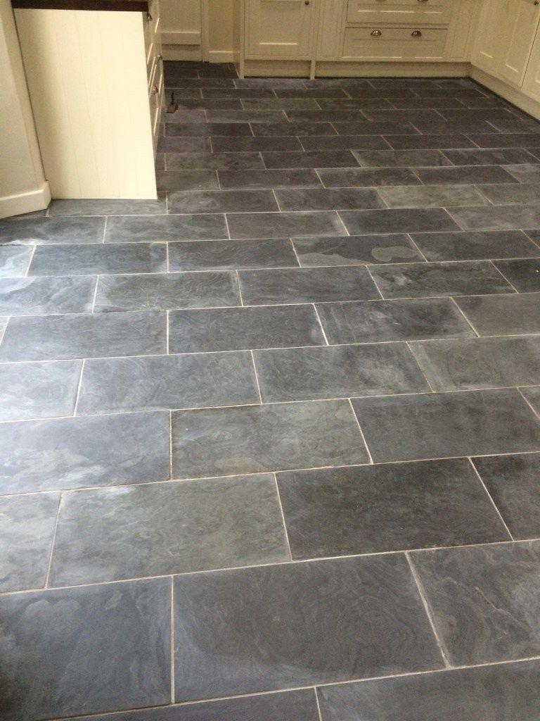 Varnished Brazilian Slate Tiles Before Cleaning   Slate tile floor ...