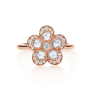 Tiffany Garden flower ring in 18k rose gold with diamonds. AU$4,550