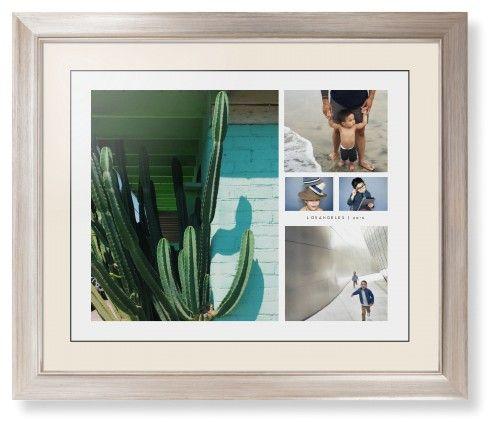 Hero Collage Framed Print, Metallic, Modern, Black, Cream, Single piece, 16 x 20 inches