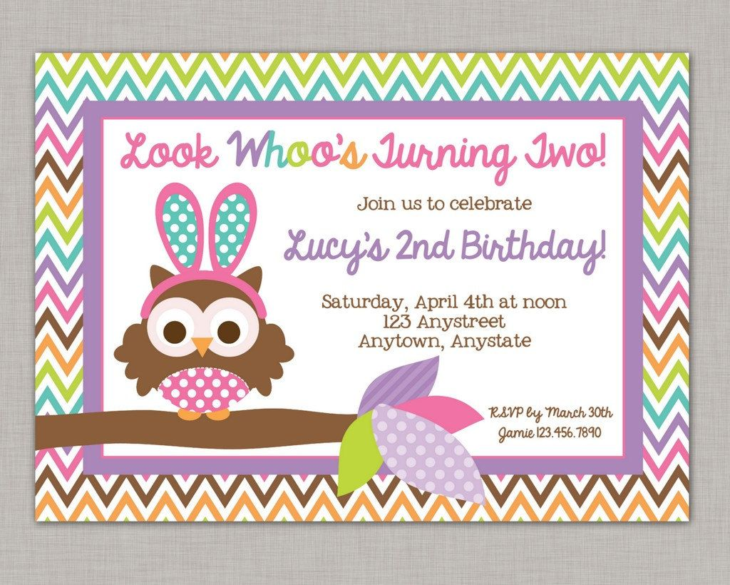 DIY Printable Easter Owls, Easter Birthday Party Invitation by ...