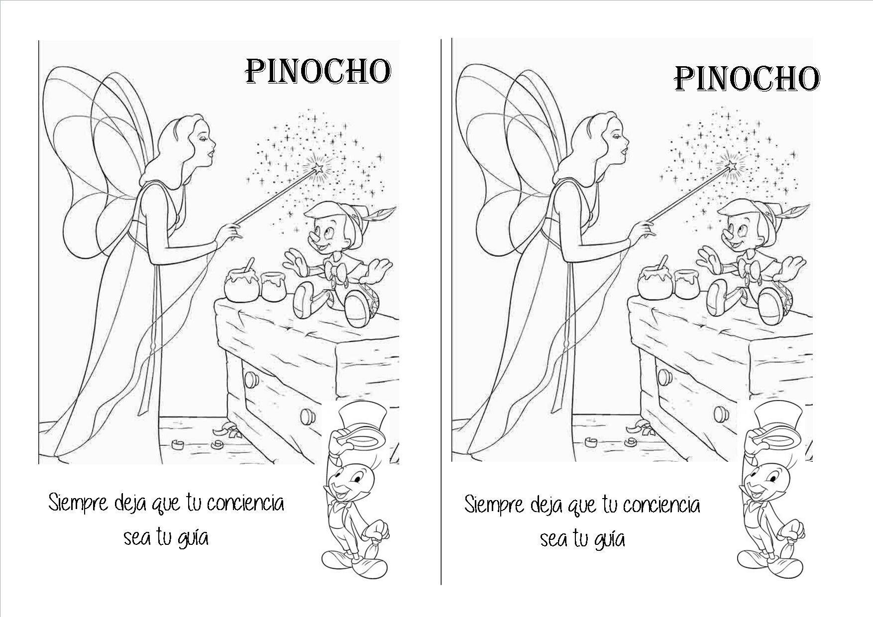 Ficha para colorear de Pinocho, hada azul y Pepito Grillo