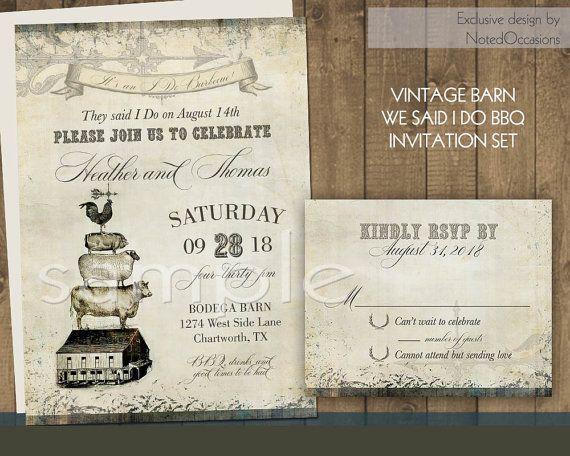 I Do BBQ Wedding Reception Only Invitation Vintage Farm Country - i do bbq wedding invitations