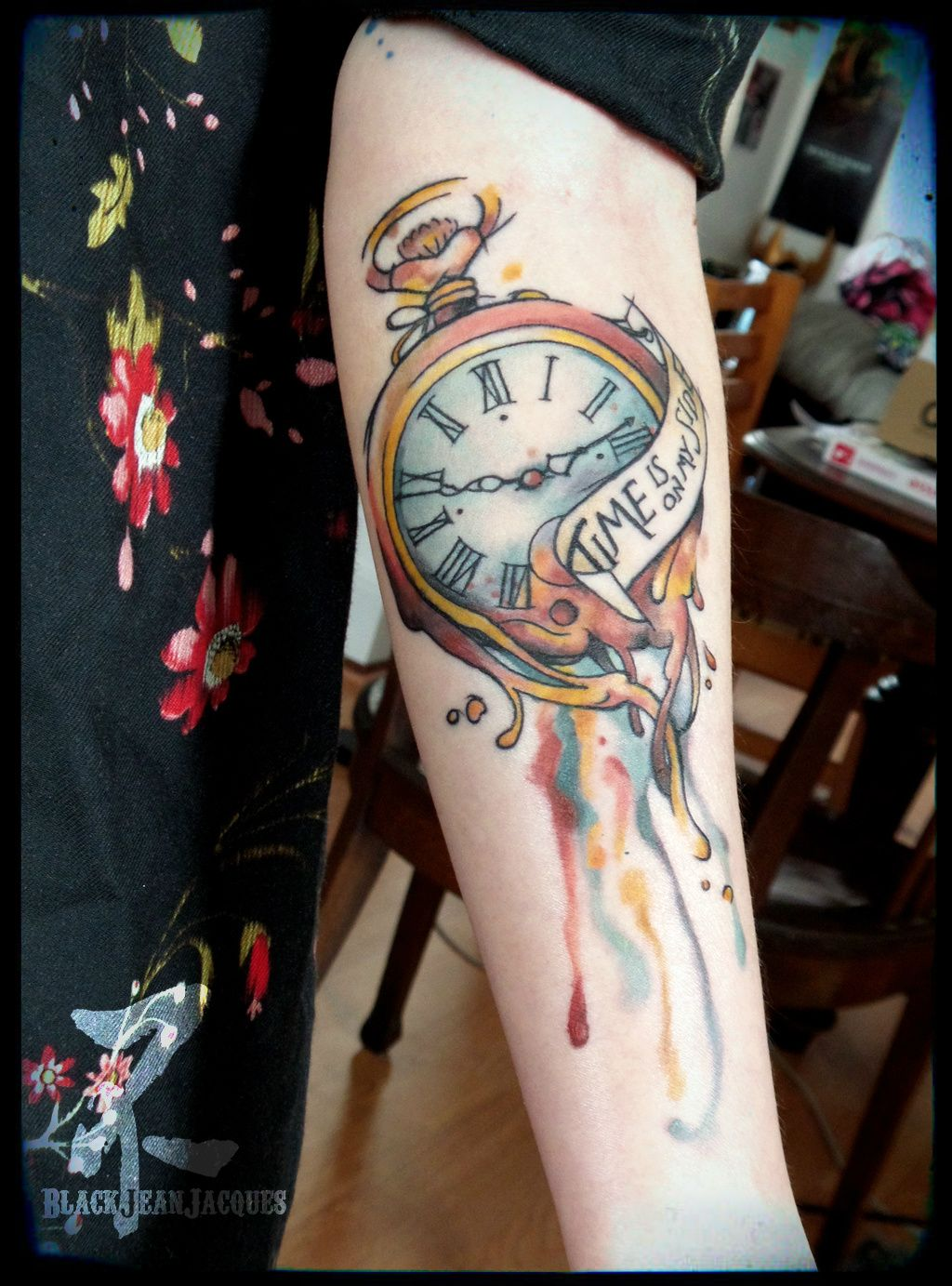 Montre gousset dali watercolor watch pocketwatch time clock watchtattoo - Montre a gousset tattoo ...