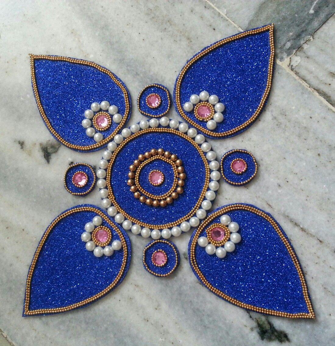 Arrangeable rangoli made with foam glitter sheet kundans for Arts and crafts glitter