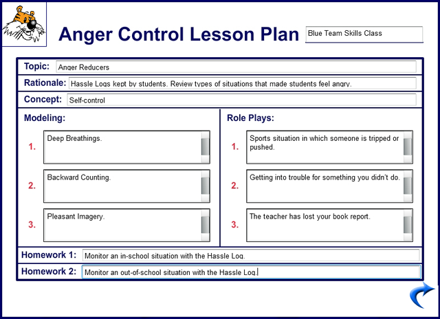 Large Example Image Of The Anger Control Lesson Plan Card  Sel