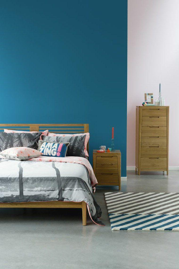 pareti-camera-da-letto-blu-arredamento-mobili-legno   camera ...