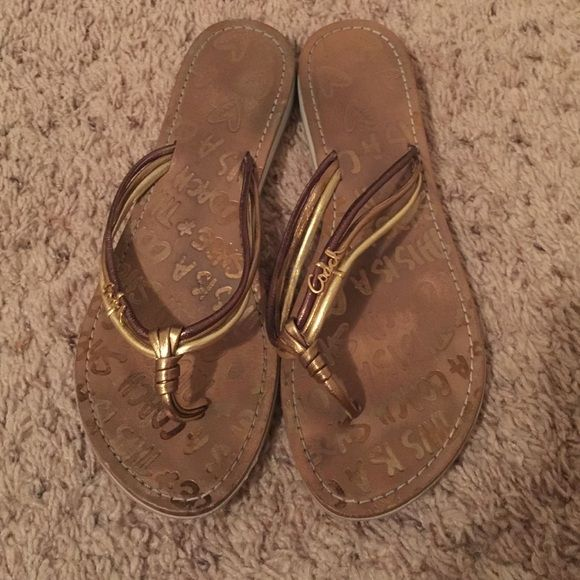 "Coach Molly metallic sandal flip flop Gently pre-loved with lots of wear left. They say ""this is a Coach shoe"" on the footbed. Coach Shoes Sandals"