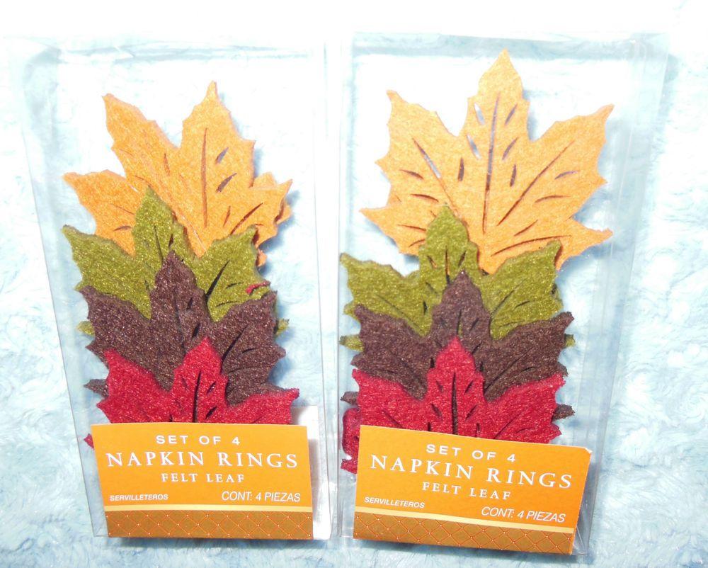 Liberty Autumn Fall Felt Maple Leaf Napkin Rings (Set of 8) NIP Free US Shipping