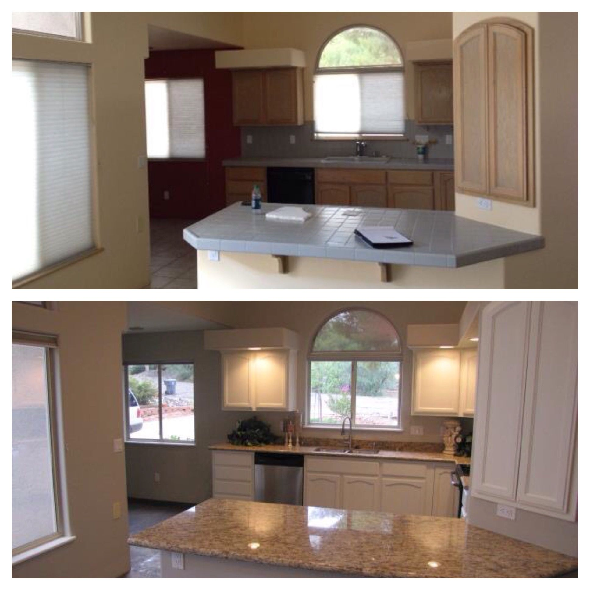Best Updated Kitchen Before And After Revere Pewter Walls And 400 x 300