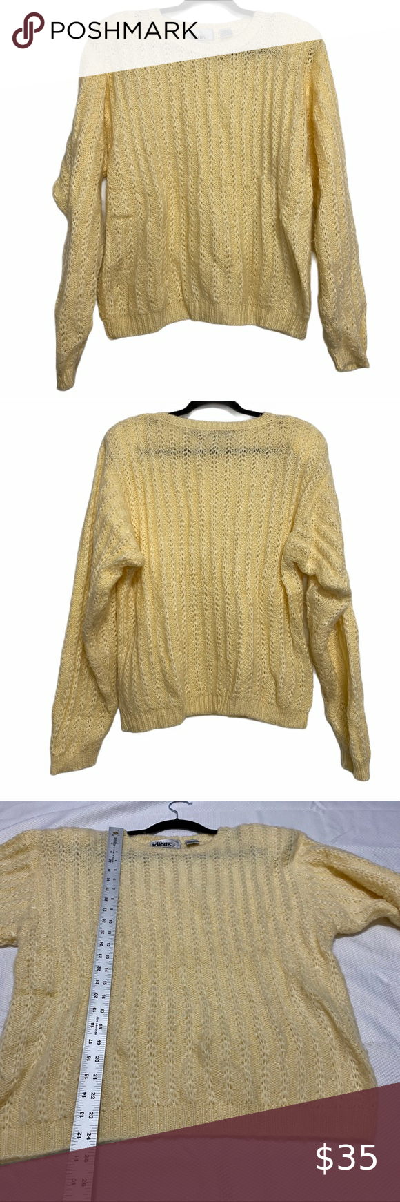 Vintage Idioms Soft Pale Yellow Sweater