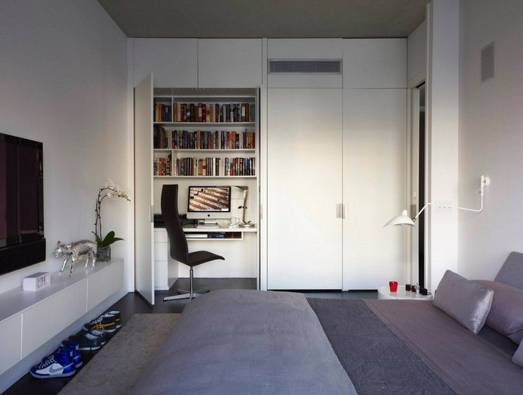 Aménagement bureau maison dressing blanc neige meuble télé assorti