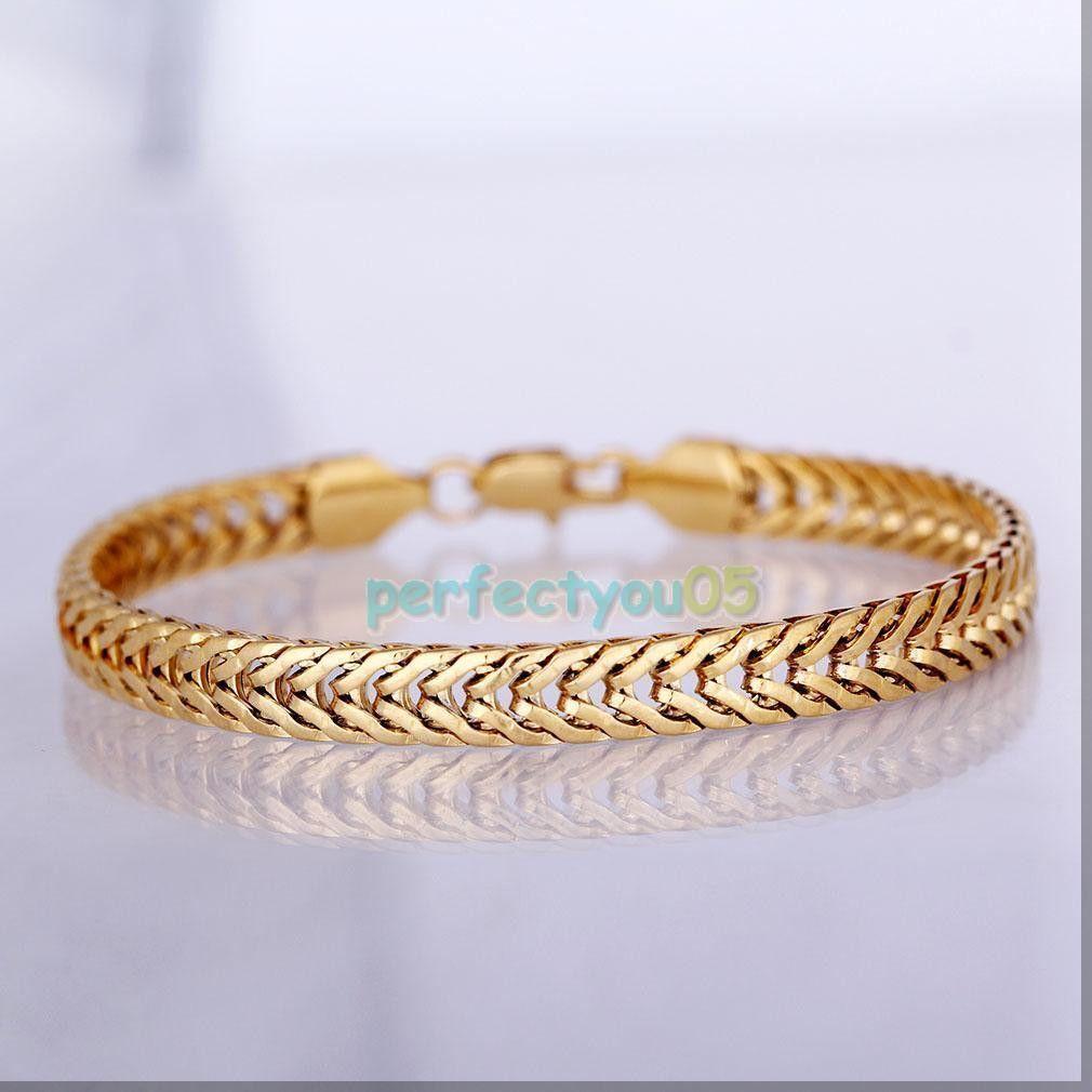 Men S 18k Gold Plated Curb Bracelet