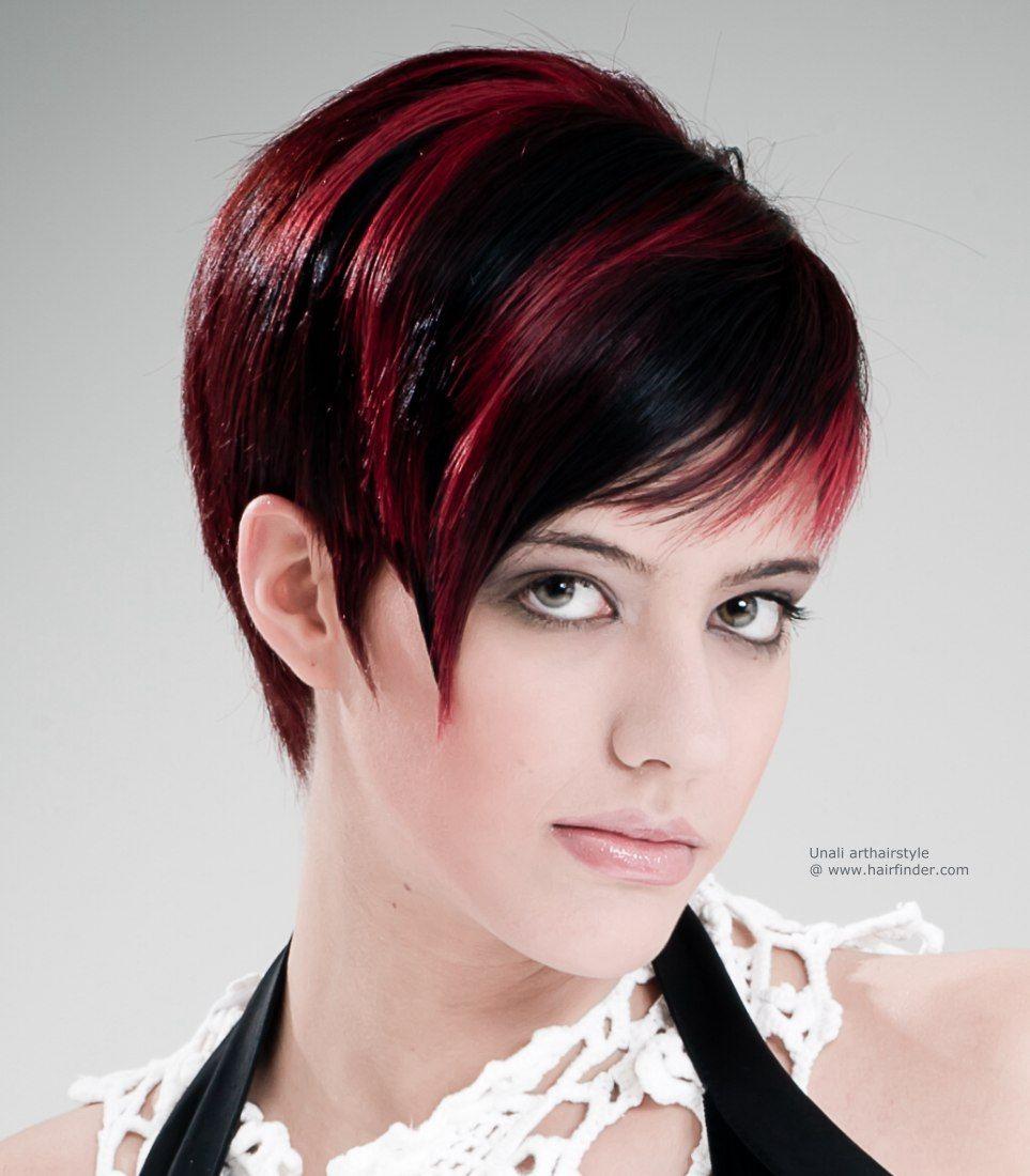 Sleek short haircut with streaks hair pinterest short haircuts