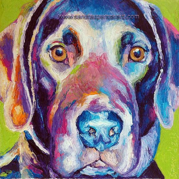 Original Labrador Dog Oil Painting 10x10 Lab portrait painted by knife