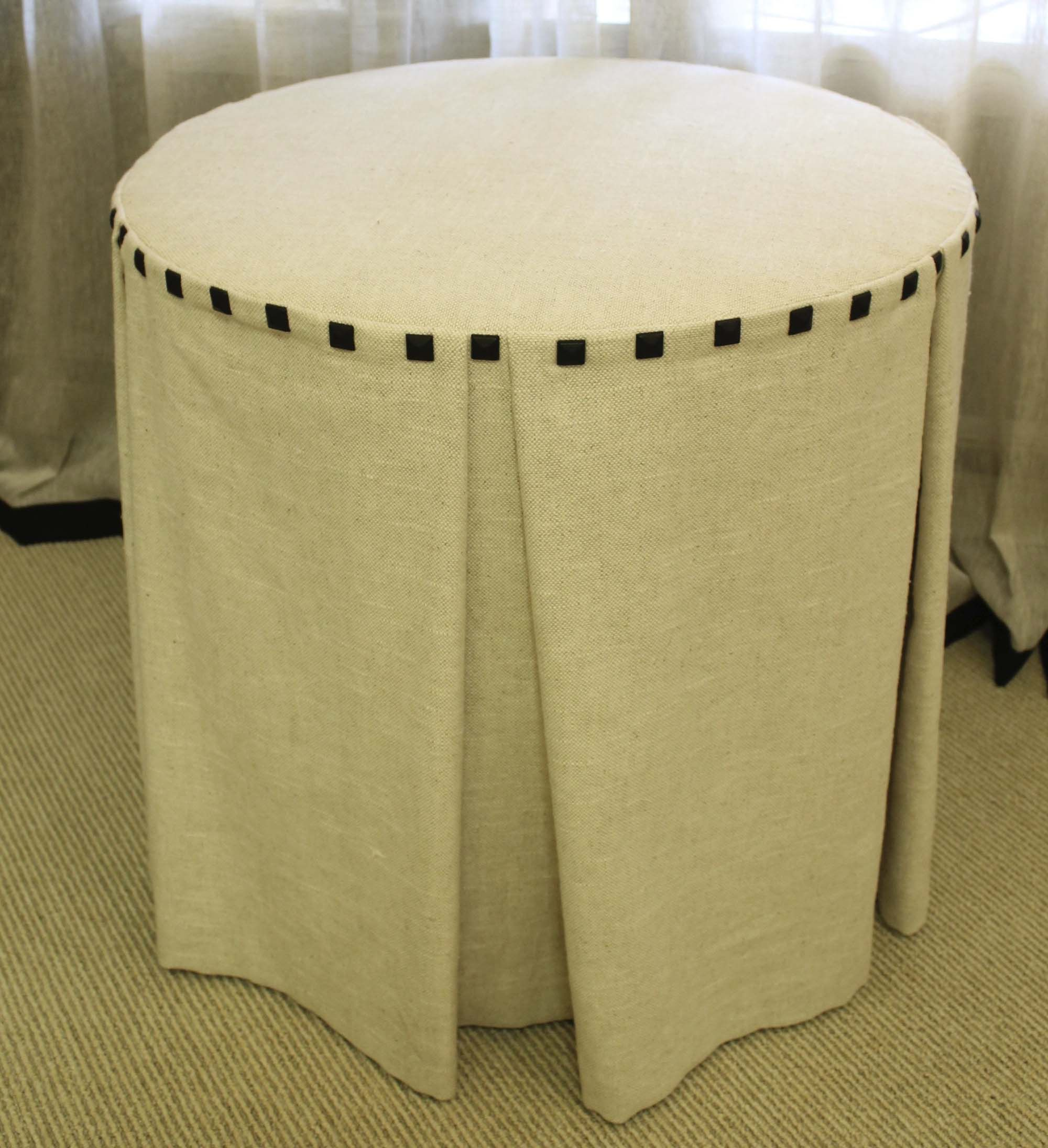 How to make a fabric table cover - Box Pleated Fabric Table Cloth With Square Nailhead Border Www Drapery Design Com