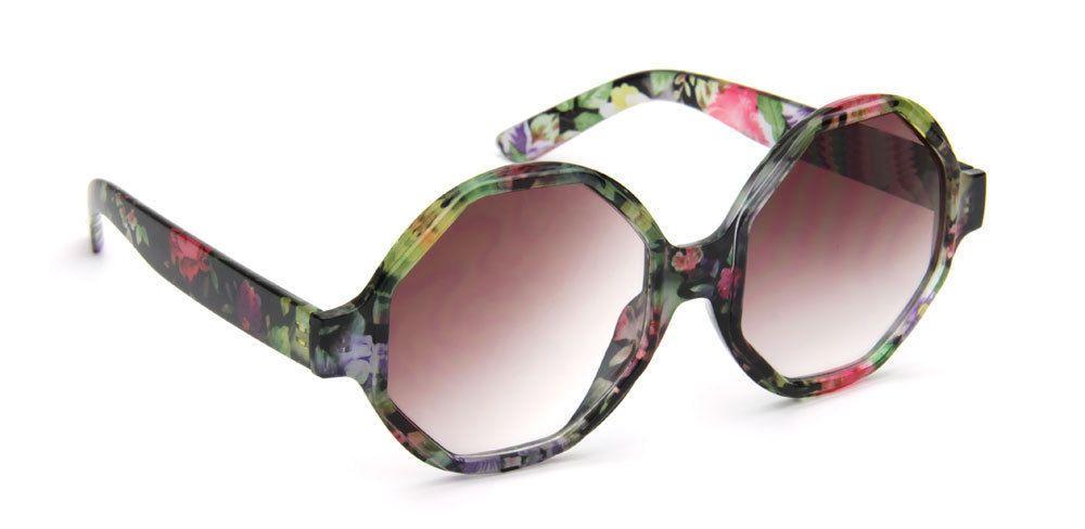 Oversized Round Sunglasses Octagon Floral Designer Women Fashion