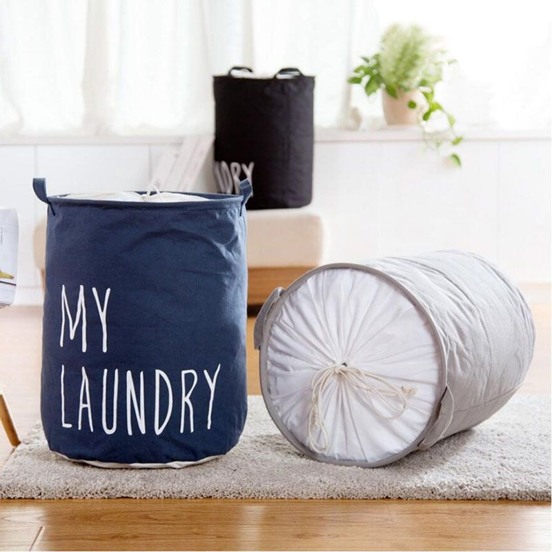 Simple Design Dustproof Cotton Fabric Laundry Basket Hamper With
