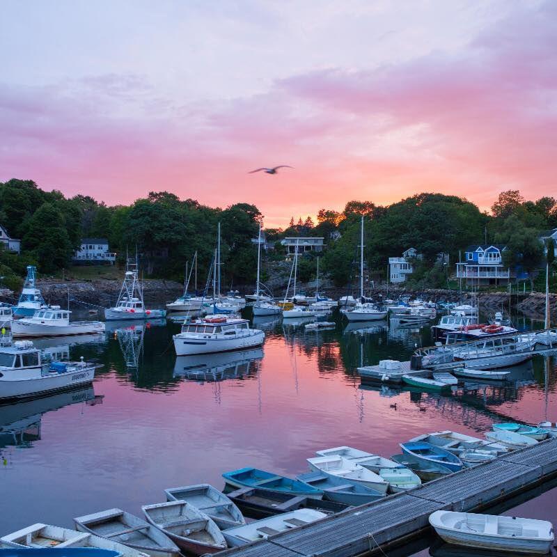 "Sunset, Perkins Cove, Ogunquit, Maine (Photo Credit: ""Maine Home & Design Magazine"" art director Heidi Kirn.)"