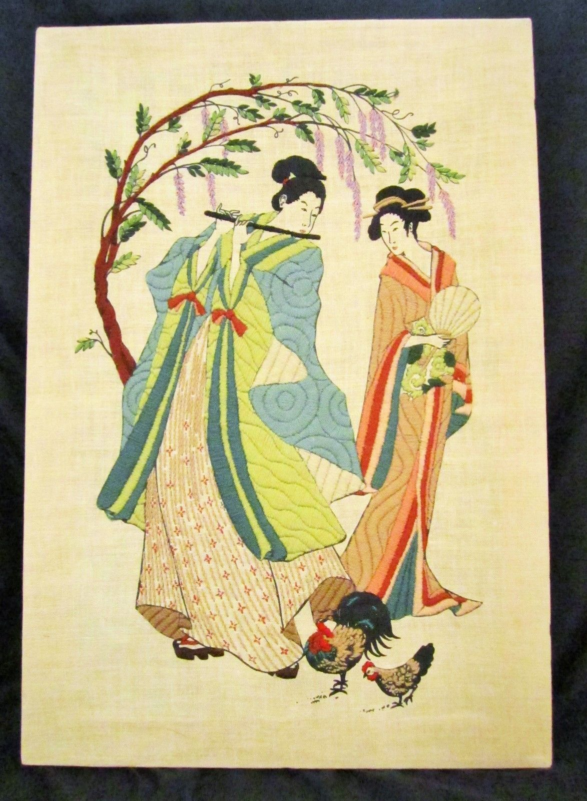 Vintage Oriental Spring Geisha Finished Dimensions Crewel Embroidery ...