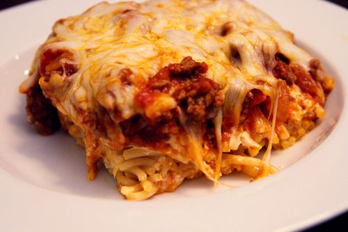 Baked spaghetti!  I made this tonight and it was sooooo good! I used rigatoni because that's what I had, but it doesnt matter!