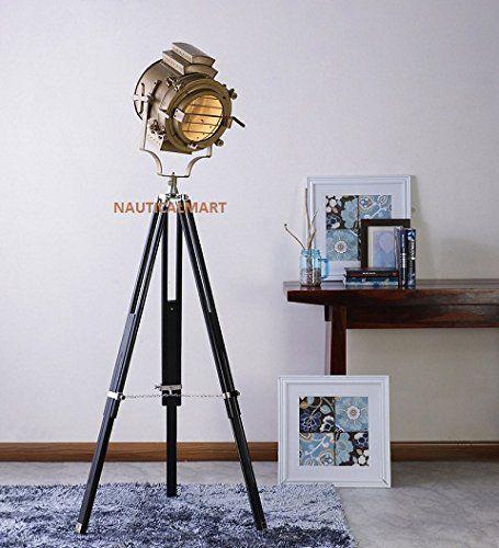 Nauticalmart Designer Beautiful Sheesham Wood And Brass Finish Tripod Floor Lamp Brass Floor Lamp Tripod Floor Lamps Antique Floor Lamps