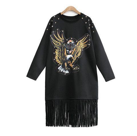 $30.00   Riveting eagle tassel sweater  T31004