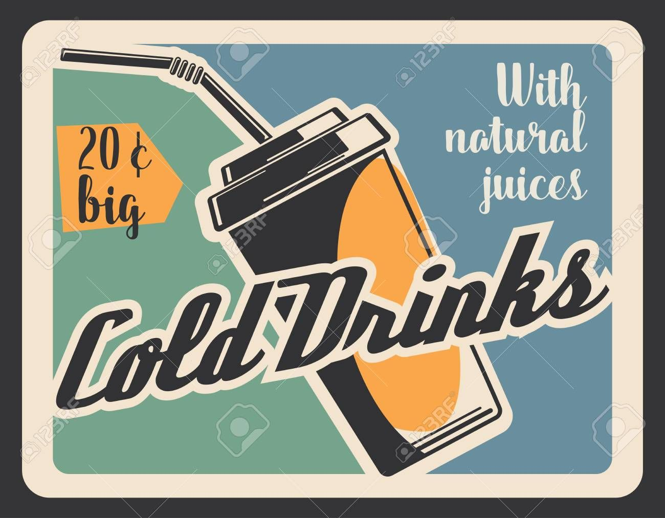 Cold drinks fast food restaurant retro banner with drink in paper cup Soda or coke juice or coffee lemonade and water with straw for fastfood cafe menu Beverage vector bi...