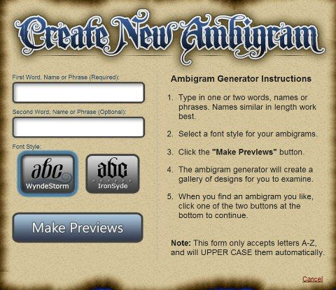 The Ambigram Generator …  Ambigram tattoo, Ambigram tattoo generator, Ambigram generator