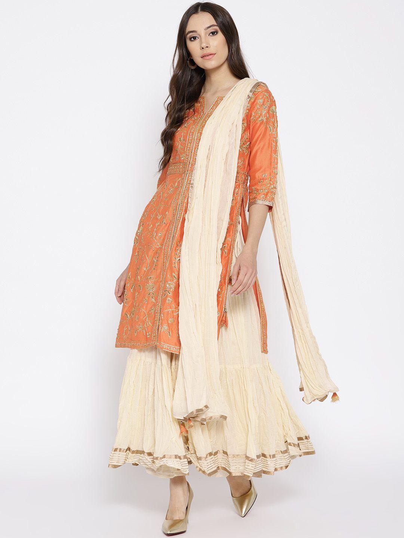 220457367 Buy Biba Women Orange   Cream Coloured Embroidered Kurta With Skirt    Dupatta - Kurta Sets for Women