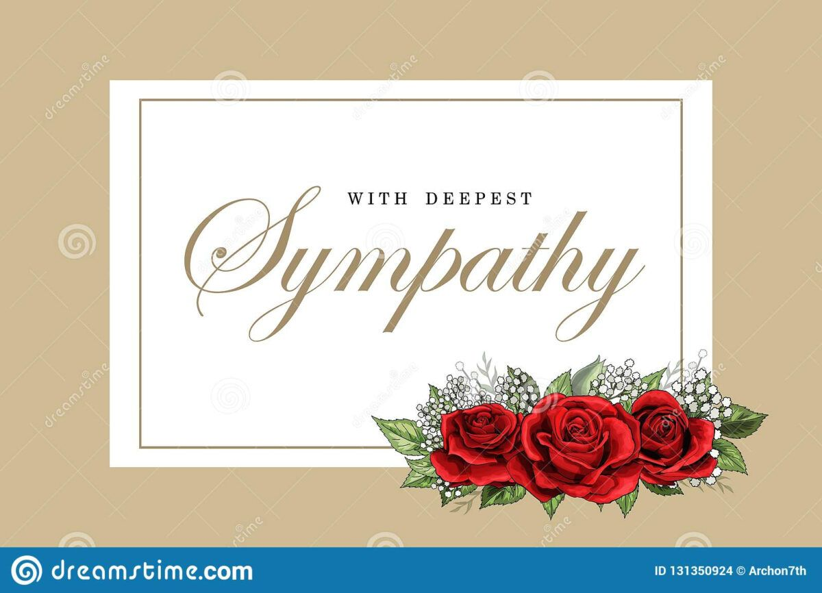 Condolences Sympathy Card Floral Red Roses Bouquet And With Regard To Sorry For Your Loss Card Tem Red Rose Bouquet Rose Bouquet Wedding Table Numbers Template