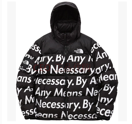 SUPREME X THE NORTH FACE BY ANY MEANS NECESSARY BLACK WHITE PARKA JACKET $225